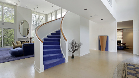 Home Interior with Blue Staircase